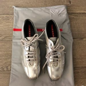 AUTHENTIC PRADA Silver Leather SHOES Sneakers